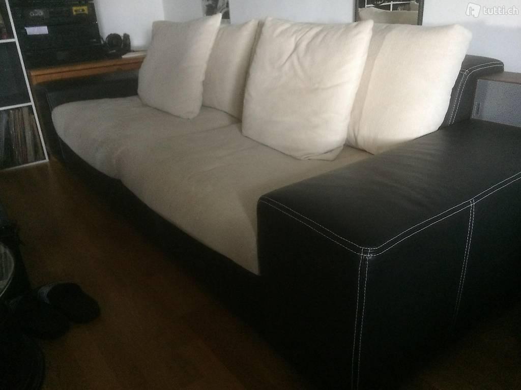 2er sofa schwarz weiss leder stoff in z rich kaufen. Black Bedroom Furniture Sets. Home Design Ideas