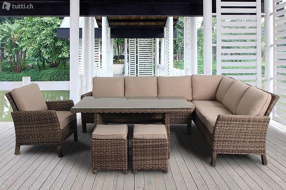 Rattan lounge dining table in z rich kaufen viplounge for Rattan garten lounge gunstig