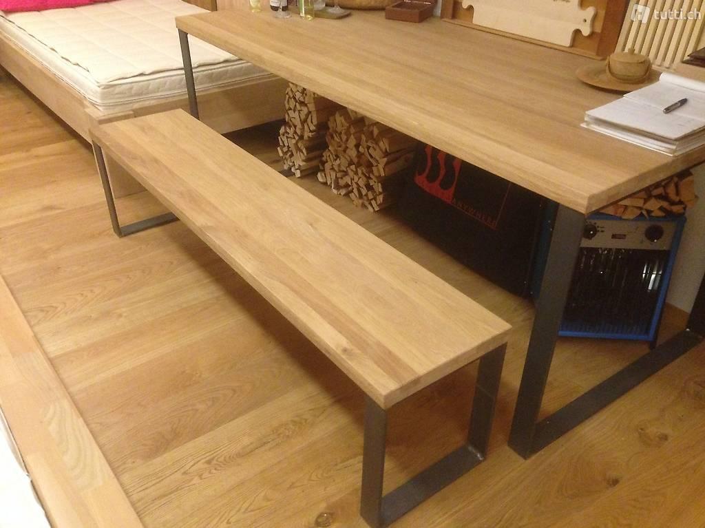 massivhoz eiche tisch esstisch b rotisch mit bank in z rich kaufen rank. Black Bedroom Furniture Sets. Home Design Ideas