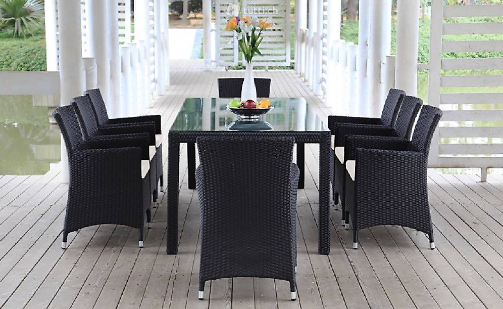 set ext rieur osier rotin salle manger ensemble en roti in vaud acheter viplounge. Black Bedroom Furniture Sets. Home Design Ideas