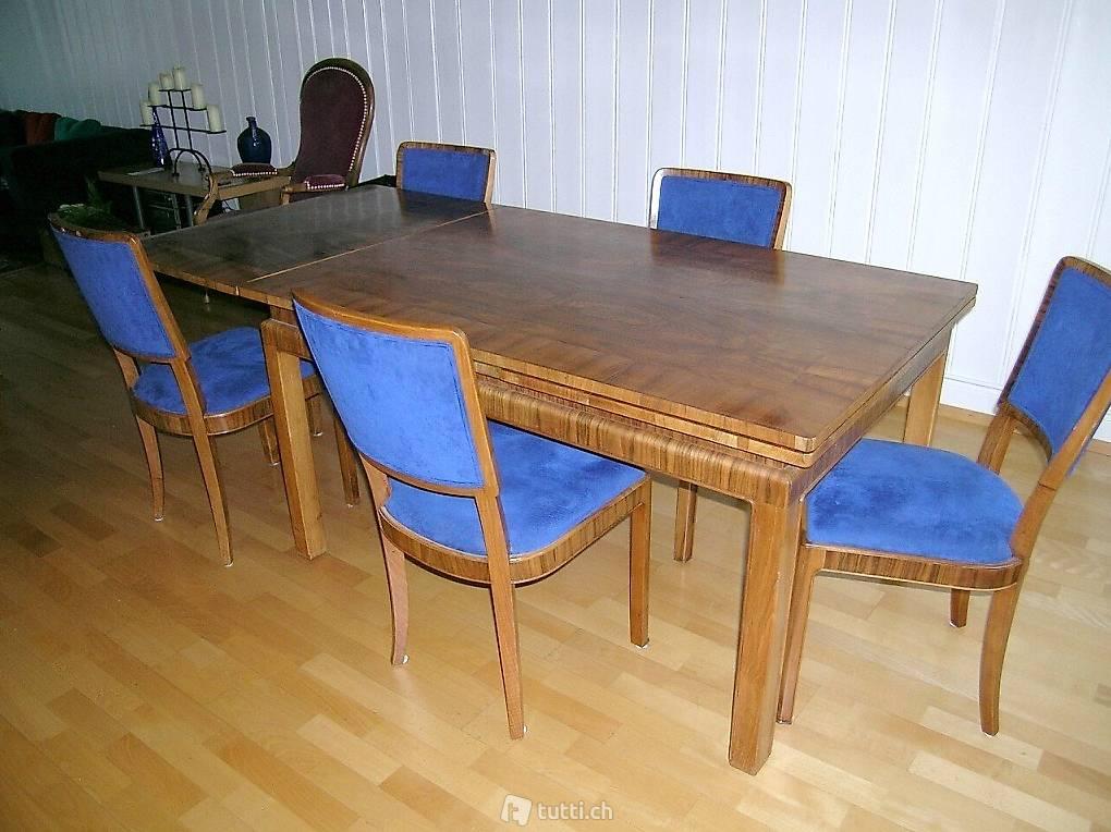 art deco tisch mit 10 st hlen alcantarastoff masse 99 x 140 in z rich kaufen. Black Bedroom Furniture Sets. Home Design Ideas