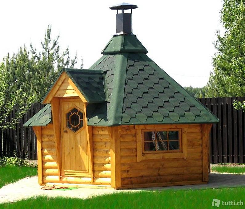 grillhütte 9,2m²,45mm wandstärke, inkl. grill in bâle acheter - c&b
