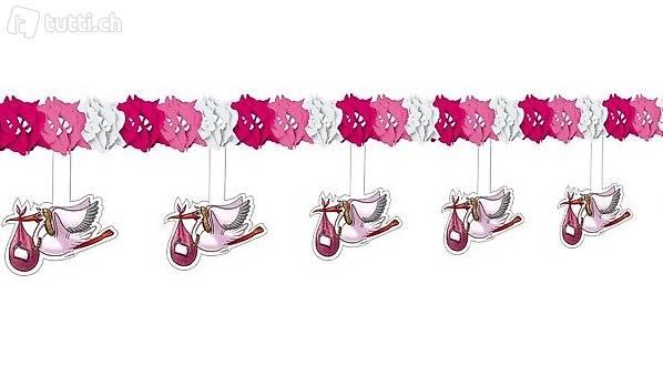 baby geburt storch girlande rosa m dchen in thurgau kaufen. Black Bedroom Furniture Sets. Home Design Ideas