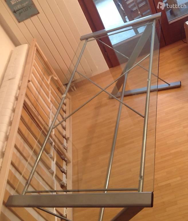 schreibtisch glas metall 156x71cm in z rich kaufen. Black Bedroom Furniture Sets. Home Design Ideas