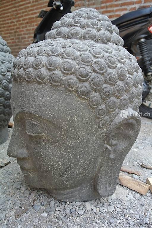 Brunnen Skulptur Buddha Kopf Springbrunnen Wasserspiel In