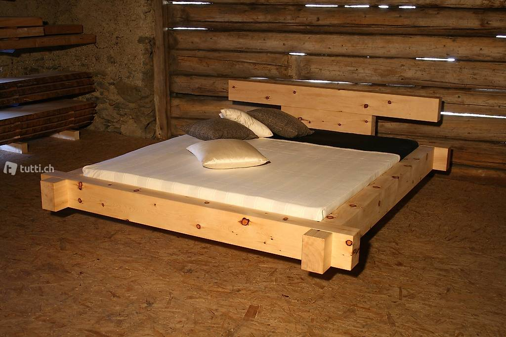 balkenbett massiv arvenholz in graub nden kaufen grischott holz. Black Bedroom Furniture Sets. Home Design Ideas