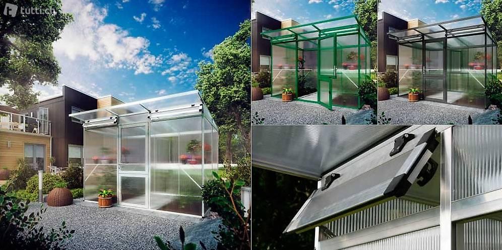 gew chshaus pultdach 6 4 m2 mit doppelstegpl alu pressblank in aargau kaufen botanicum daniel. Black Bedroom Furniture Sets. Home Design Ideas