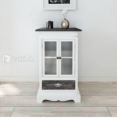 vitrine mit 2 t ren und 1 schublade holz weiss in zug kaufen meinhaustier24 gmbh. Black Bedroom Furniture Sets. Home Design Ideas