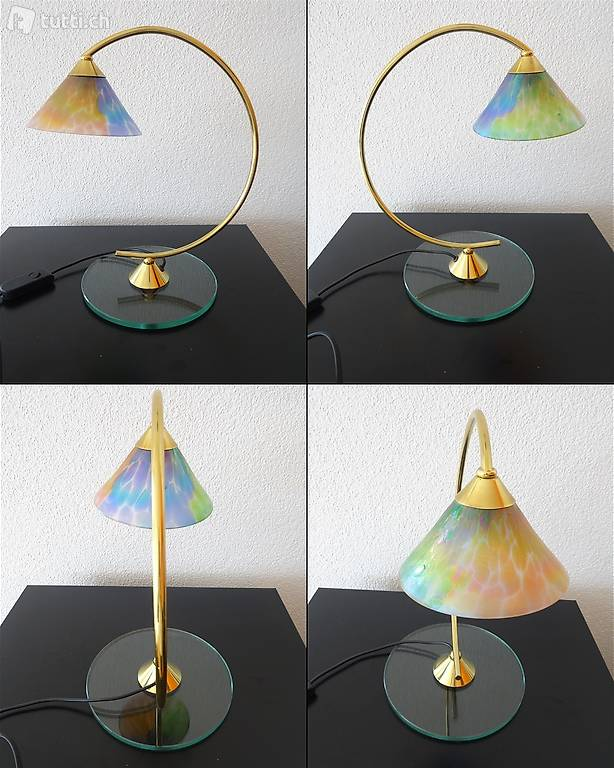 bogen lampe 33cm glasfuss farbiger glas lampenschirm in thurgau kaufen. Black Bedroom Furniture Sets. Home Design Ideas
