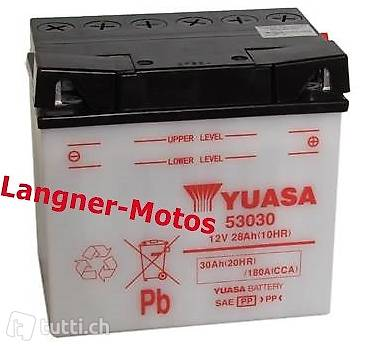 53030 yuasa motorrad batterie 12v 30ah 180a en moto guzzi in thurgau kaufen langner motos. Black Bedroom Furniture Sets. Home Design Ideas