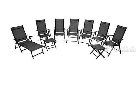 klappbares gartenm bel set aluminium schwarz in zug kaufen bohnet trade gmbh. Black Bedroom Furniture Sets. Home Design Ideas