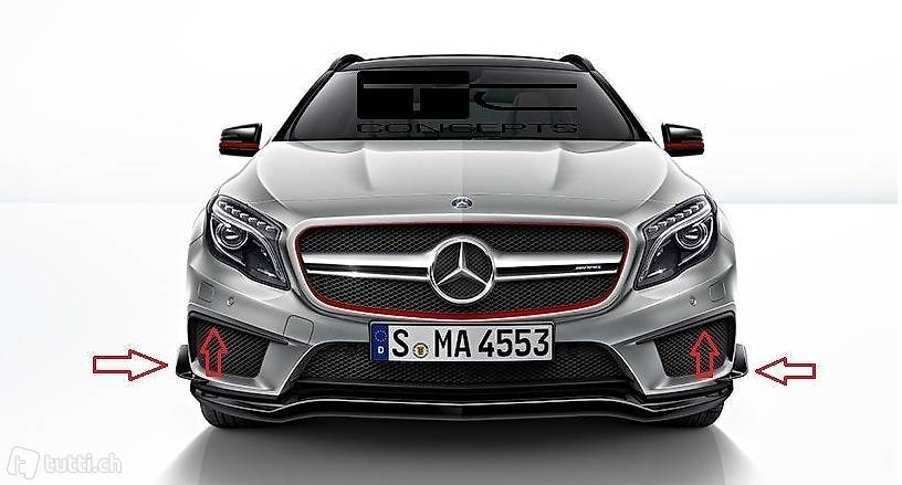 mercedes gla x156 frontspoiler side flaps gla45 amg in st. Black Bedroom Furniture Sets. Home Design Ideas