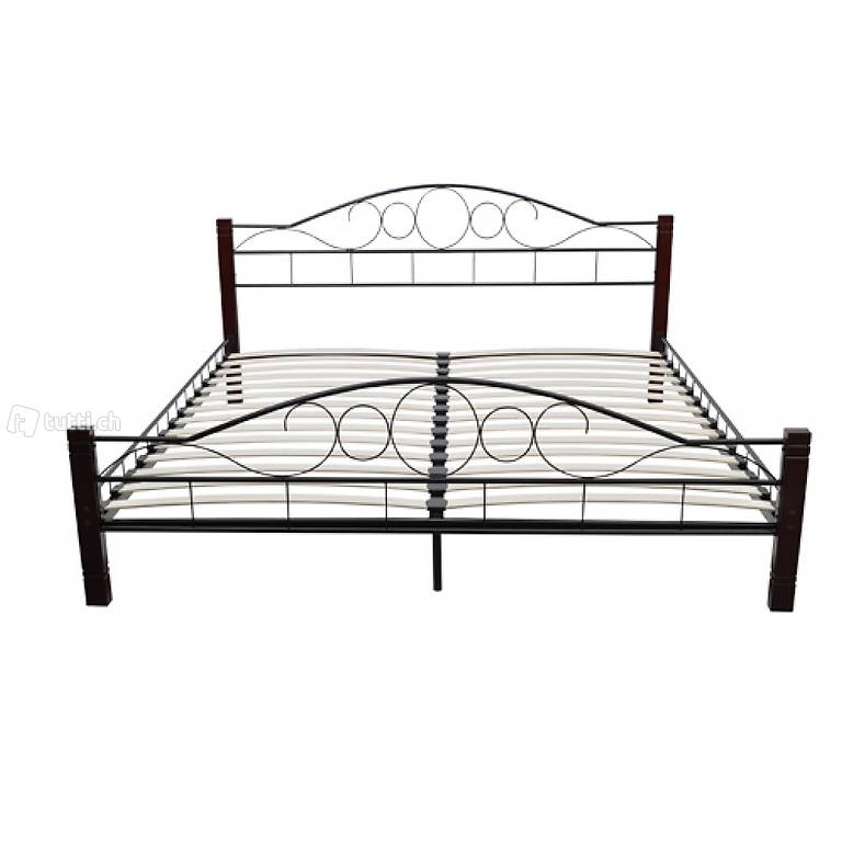 metall doppelbett mit lattenrost 140x200cm mahagoni in zug. Black Bedroom Furniture Sets. Home Design Ideas