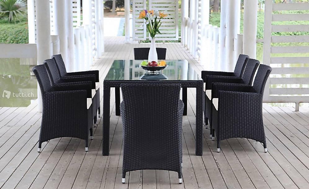 set ext rieur osier rotin salle manger ensemble en. Black Bedroom Furniture Sets. Home Design Ideas