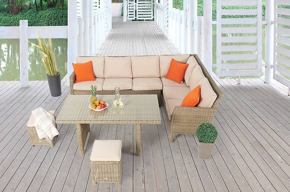 rattan lounge mit esstisch rattan gartentisch set in st gallen kaufen viplounge. Black Bedroom Furniture Sets. Home Design Ideas