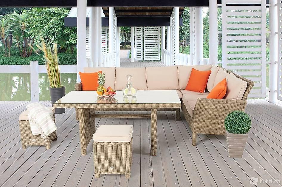 rattan lounge mit esstisch rattan gartentisch set in st. Black Bedroom Furniture Sets. Home Design Ideas