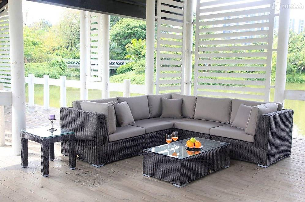 rattan gartenm bel rattan ecklounge braun in z rich kaufen viplounge. Black Bedroom Furniture Sets. Home Design Ideas