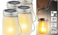 4er-Set Solar-LED-Hängelampen im Einmachglas, Flammeneffekt,