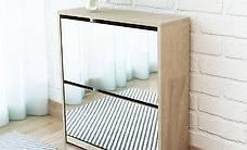 Schuhschrank mit 2 Fächern Spiegel Eiche 63x17x67 cm