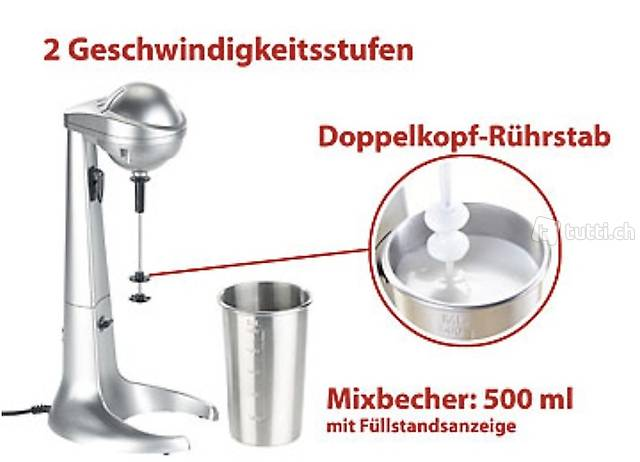 Elektrischer Drink-Mixer mit Edelstahl-Becher, 65 Watt