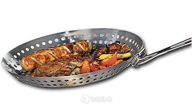 Grillpfanne aus Edelstahl mit Klapp-Griff, Ø 30 cm, spülmasc