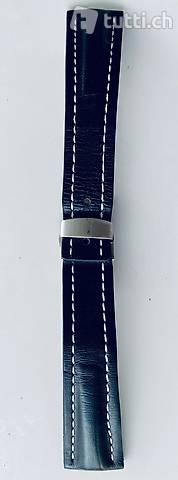 Schwarz mit weiss Naht Leder Uhrenband  Faltschliesse 24