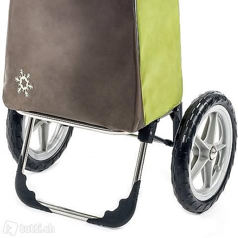 gro/ßer Shoppingwagen Shoppingtrolley bis 30kg belastbar Moderner Einkaufstrolley Esana in gr/ün mit 55L /& extra K/ühlfach