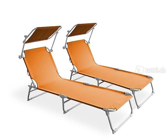 Sedia a sdraio arancione set di 2 (Consegna gratuita)