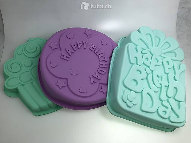 3x Silikon Backformen gross Cupcake / Happy Birthday