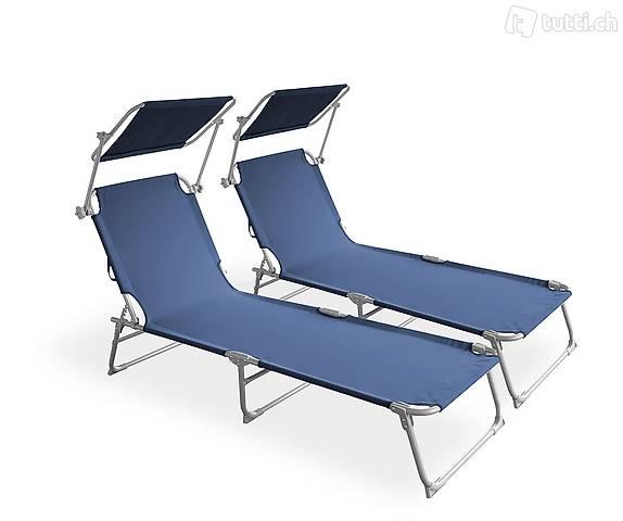 Sedia a sdraio lettino blu set di 2 (Consegna gratuita)