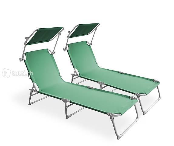 Sedia a sdraio lettino verde set di 2 (Consegna gratuita)