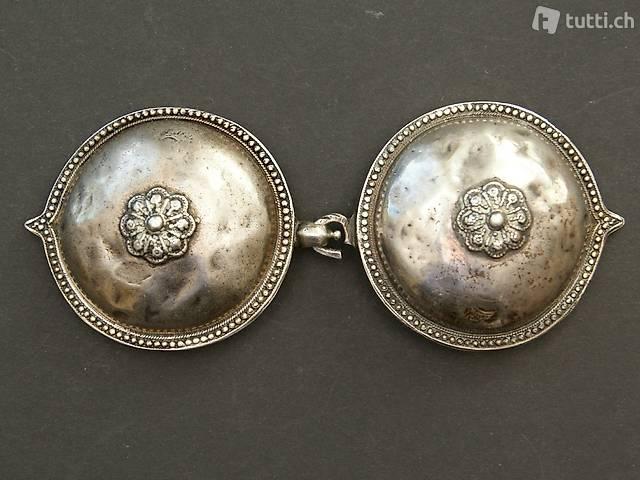 Antike Gürtelschnalle - Silber 835 - Indien