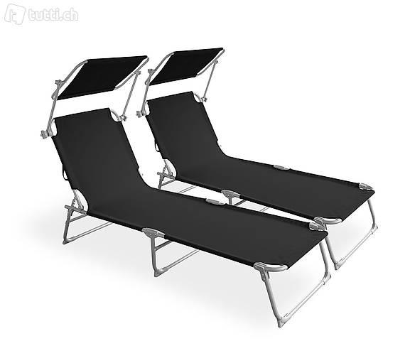 Sedia a sdraio lettino nero set di 2 (Consegna gratuita)