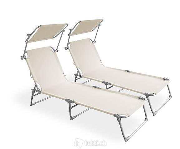Sedia a sdraio lettino beige set di 2 (Consegna gratuita)