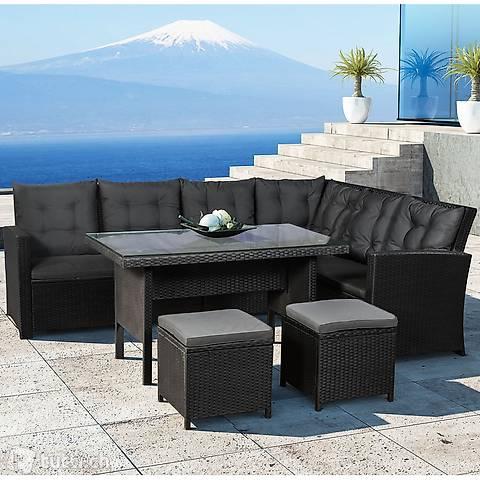 Polyrattan Lounge Sitzgarnitur schwarz Bezüge in Dunkelgrau