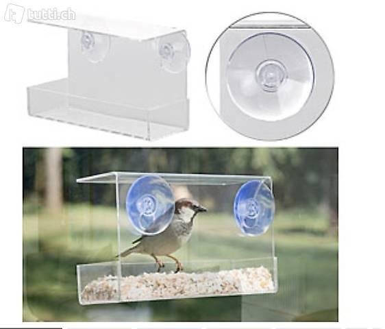 Vogel-Futterhaus aus Acryl mit Saugnapf-Befestigung fürs Fen