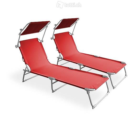 Sedia a sdraio rosso set di 2 (Consegna gratuita)