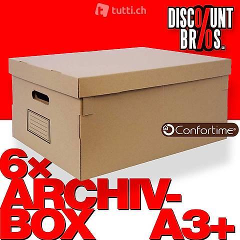 6 Stk Mehrzweckboxen ARCHIV-BOX A3+ mit Deckel