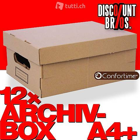 12 Stk Mehrzweckboxen ARCHIV-BOX A4 mit Deckel