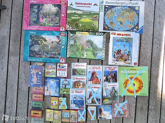 MC,CD;DVD, Puzzle,Spiele, Mandala Malen,Globi, Kasperli