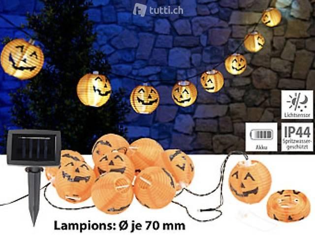 Solar-Lichterkette mit 10 LED-Lampions im Halloween-Kürbis-L