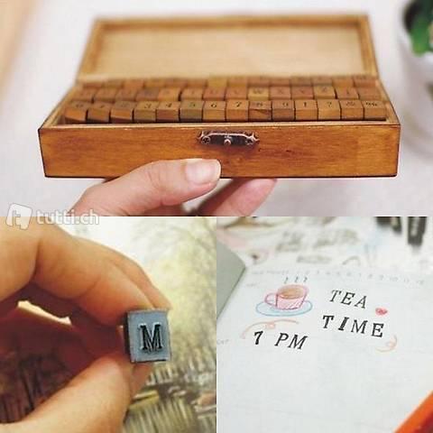 Stempelset 70-teilig Holz Box Alphabet Buchstaben Letters Zahlen als Geschenk