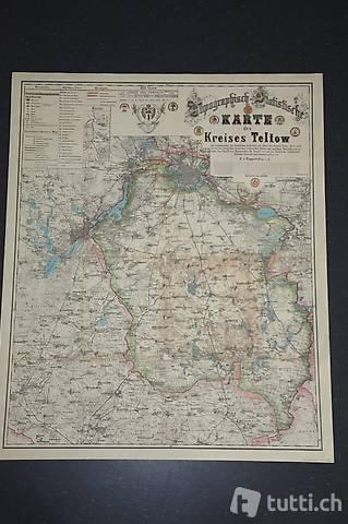 Landkarte / Karte des Kreises Teltow / Berlin Deutschland