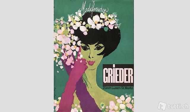 Altes Werbeplakat Grieder Modefreuden Plakat