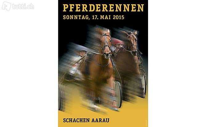 Plakat: Wunderschönes Werbeplakat Pferderennen Aarau