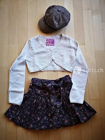 Kleider-Paket für Mädchen / Girl mit Hut Gr. 116 / 122 / 128
