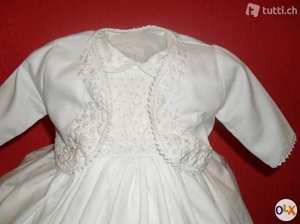 Traumhaftes Weiss Festliche Taufe Party Kleidbolero In
