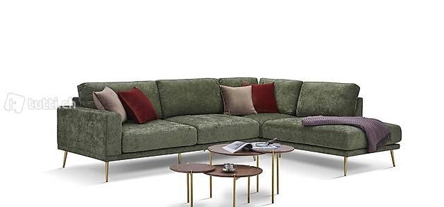 Design Stoff L-Form Couch Wohnlandschaft Ecksofa Garnitur