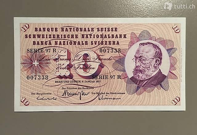 Alte Banknote 10 Franken ungefaltet bankfrisch
