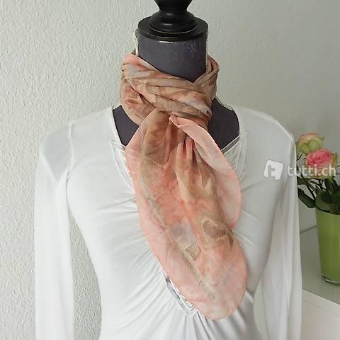 Leichtes luftiges Foulard Tuch Lachs orange